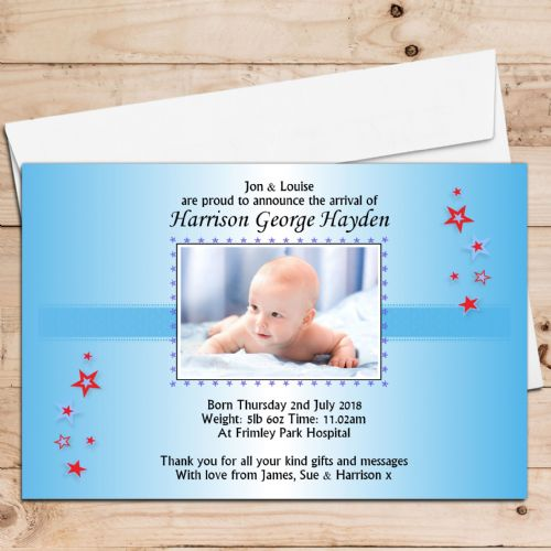 10 Personalised Baby Boy Birth Announcement Thank You PHOTO Cards N19